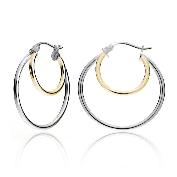 Gold Tone over Sterling Silver Two-Tone Double Circle Round Polished Hoop Earrings, 25mm