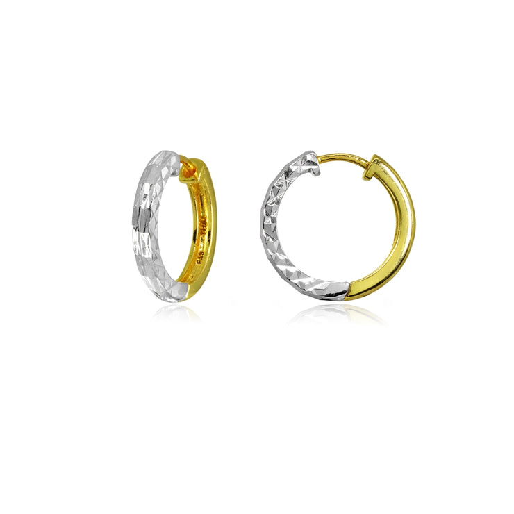 Two-Tone Yellow Gold Flashed Sterling Silver 2x15mm Diamond-Cut Polished Small Hoop Earrings