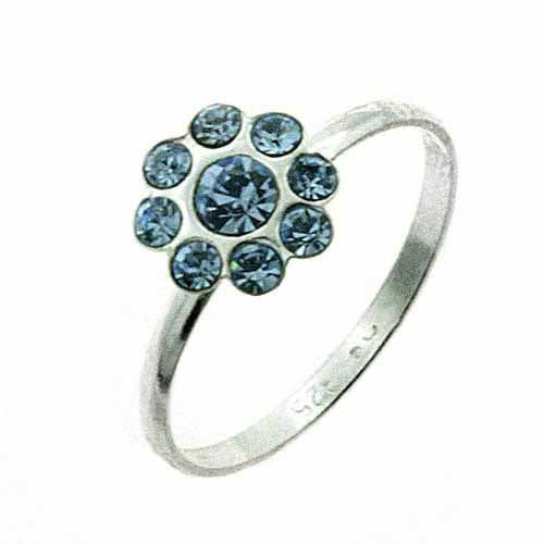 Sterling Silver Light Blue CZ Flower Junior Ring