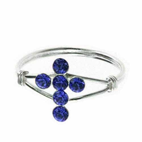 Sterling Silver Blue CZ Cross Junior Ring