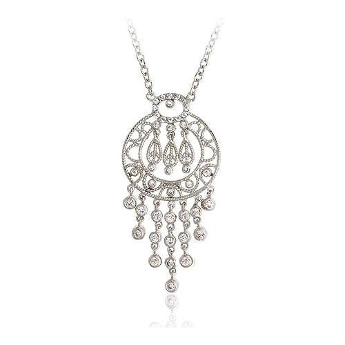 Sterling Silver .925 Diamond cubic zirconia stone Chandelier cz Necklace