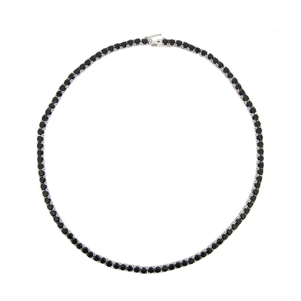 Sterling Silver 32.5ct Black Spinel Tennis Necklace