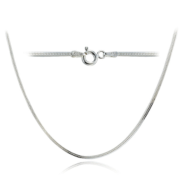 Sterling Silver Italian 1.5mm Square Box Chain Necklace for Pendants 24-Inches