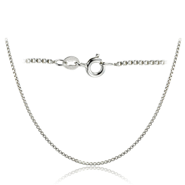 Sterling Silver Italian 1.45mm Box Chain Necklace 24 Inches