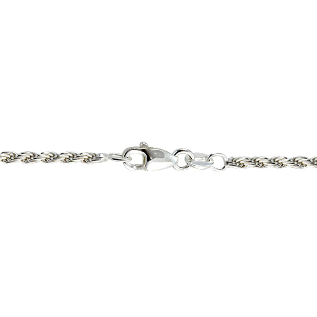 Sterling Silver Italian 2mm Rope Chain Necklace for Pendants 24 Inches