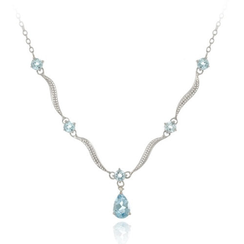 "Sterling Silver Genuine Blue Topaz & Diamond Accent Wave Necklace 16""/18"""