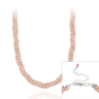 Sterling Silver Freshwater Cultered Pink Pearl Three Row Twisted Necklace