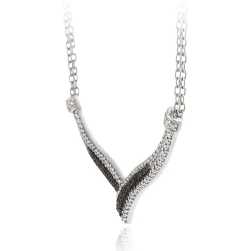 "Sterling Silver 1/4 Ct. Black Diamond ""V"" Necklace"