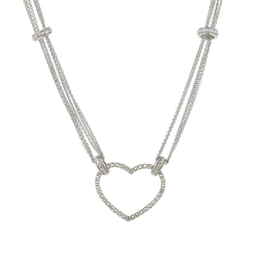 Sterling Silver Diamond Accent Six Strand Floating Heart Necklace
