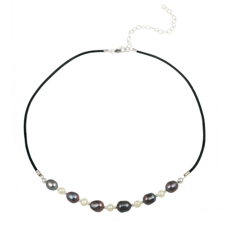 Sterling Silver Freshwater Cultured White & Peacock Pearl on Leather Beaded Necklace