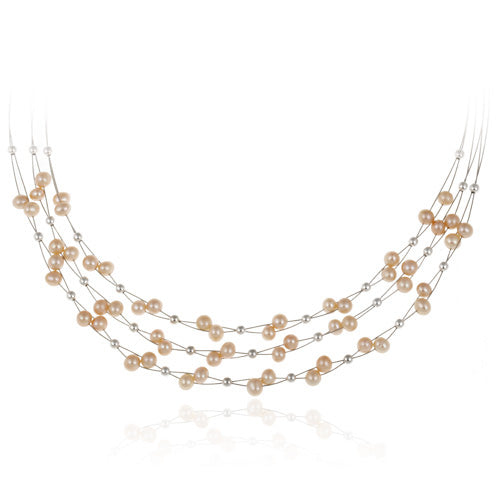 Sterling Silver Freshwater Cultured Pink Pearls & Beads 3-Row Graduating Necklace