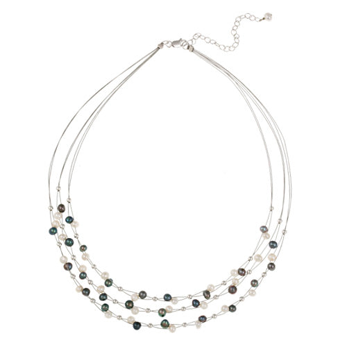 Sterling Silver Freshwater Cultured White and Peacock Pearls & Beads 3-Row Graduating Necklace