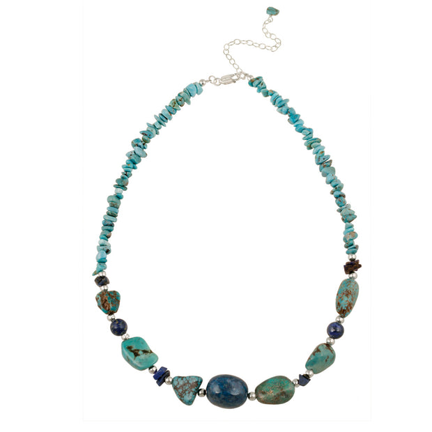 Denim Lapis, Created Turquoise Chips & Nuggets Fashion Necklace w/ Sterling Silver Beadsn Necklace w/ Sterling Silver Beads