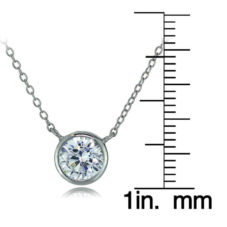 Sterling Silver Bezel-Set Cubic Zirconia Round Solitaire Necklace