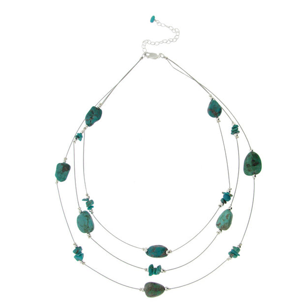 Created Turquoise Chips & Nuggets 3-Row Graduating Necklace w/ Sterling Silver Beads