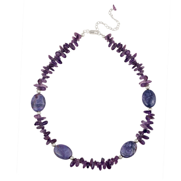 Sterling Silver Amethyst Chips Fashion Necklace