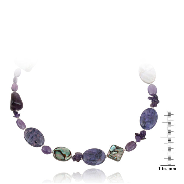 Sterling Silver Abalone, Amethyst Chips & Nuggets Fashion Necklace