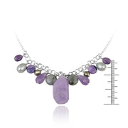 Sterling Silver Dangling Pearls, Amethyst, Laborite Beads & Stones Necklace
