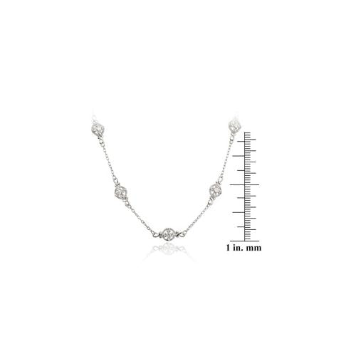 Sterling Silver CZ Flower Chain Necklace