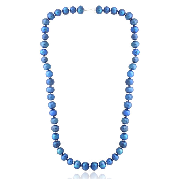 Dark Blue Freshwater Cultured 8-9mm Pearls Necklace, 18""