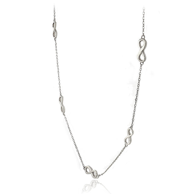 Sterling Silver Polished Infinity Station Necklace, 24 inches