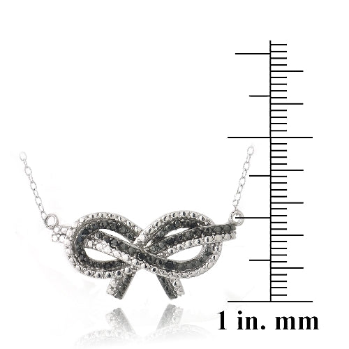 Sterling Silver 1/10ct Black Diamond Black & White Bow Love Knot Necklace