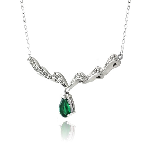 Sterling Silver Created Green Quartz & White Topaz Swirl Teardrop Necklace