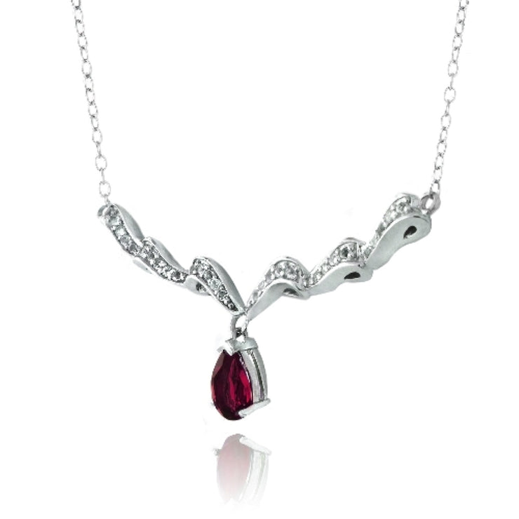 Sterling Silver Created Ruby & White Topaz Swirl Teardrop Necklace