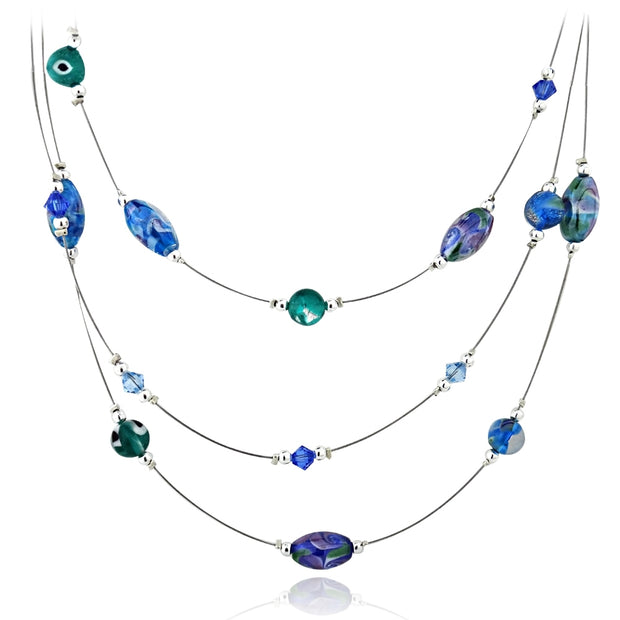 Sterling Silver Hand Blown Millefiori Multi Color Blue Oval & Round Artisan Glass & Crystals Graduating 3 Row Necklace