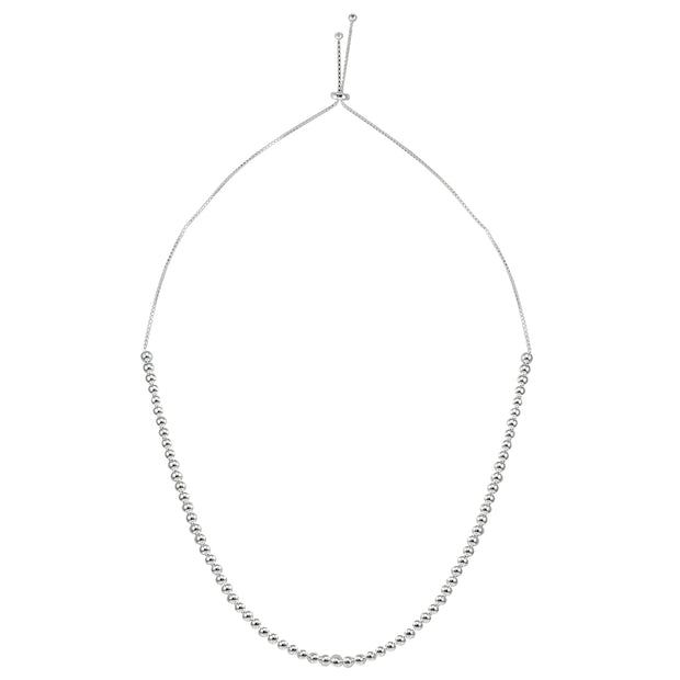 Sterling Silver 6mm Beads Adjustable Necklace