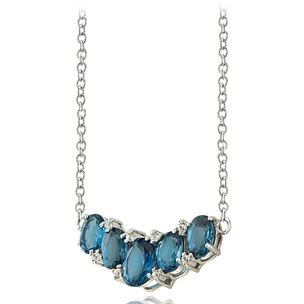 Sterling Silver 3ct TGW London Blue Topaz and White Topaz 5-Stone Necklace