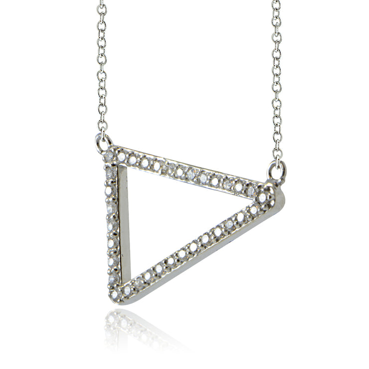 Sterling Silver Cubic Zirconia Triangle Necklace
