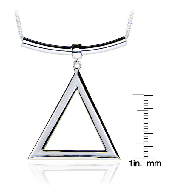 Sterling Silver Triangle and Bar Adjustable Necklace 24 Inches