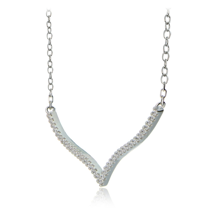Sterling Silver Cubic Zirconia V Bar Dainty Chain Necklace