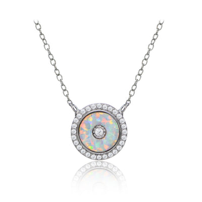 Sterling Silver Synthetic Opal and Cubic Zirconia Evil Eye Disc Chain Necklace