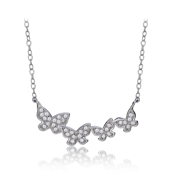 Sterling Silver Cubic Zirconia Pave Butterfly Dainty Chain Necklace