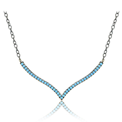 Sterling Silver Nano Simulated Turquoise V Shape Necklace