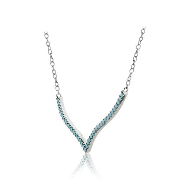 Sterling Silver Nano Created Turquoise V Shape Necklace