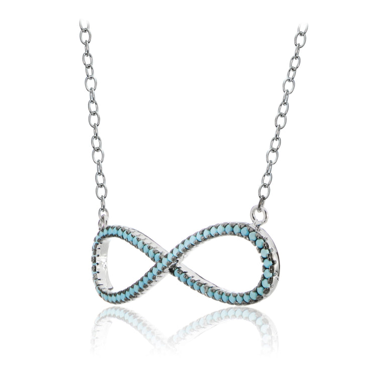 Sterling Silver Nano Created Turquoise Large Infinity Necklace