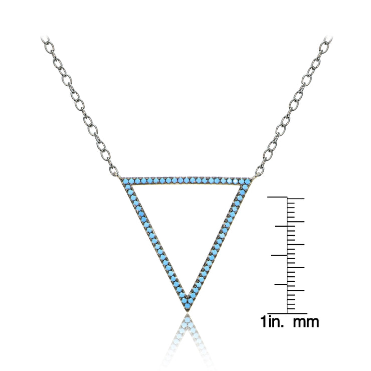 Sterling Silver Nano Created Turquoise Open Triangle Necklace