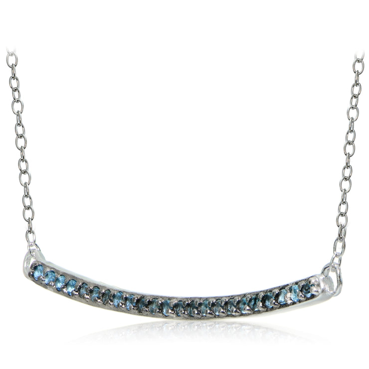 Sterling Silver Nano Created London Blue Topaz Bar Necklace