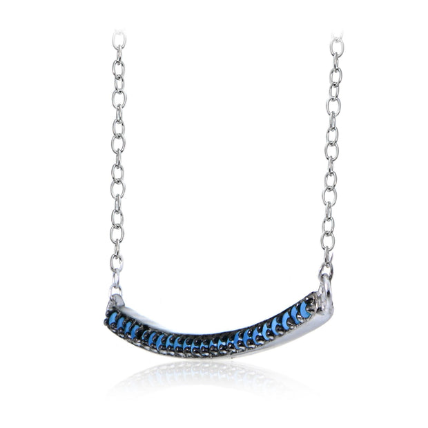 Sterling Silver Nano Created Turquoise Bar Necklace