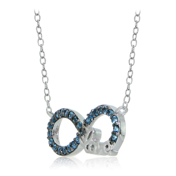Sterling Silver Nano Created London Blue Topaz Infinity Love Necklace