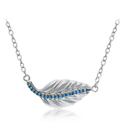 Sterling Silver Nano Simulated Turquoise Leaf Necklace