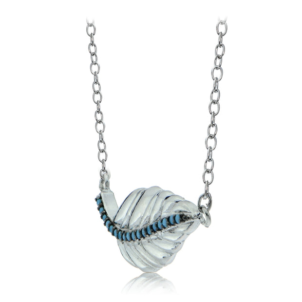 Sterling Silver Nano Created Turquoise Leaf Necklace