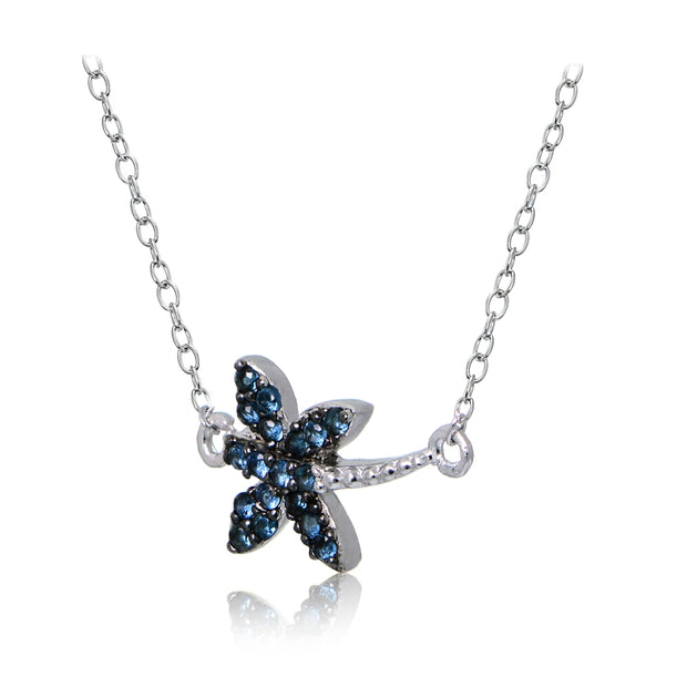 Sterling Silver Nano Created London Blue Topaz Dragonfly Necklace