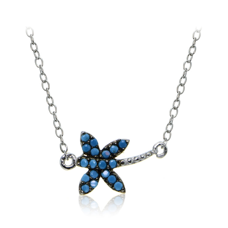 Sterling Silver Nano Created Turquoise Dragonfly Necklace