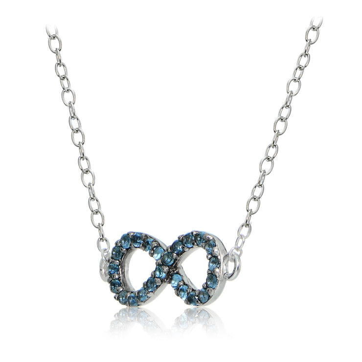 Sterling Silver Nano Created London Blue Topaz Infinity Necklace
