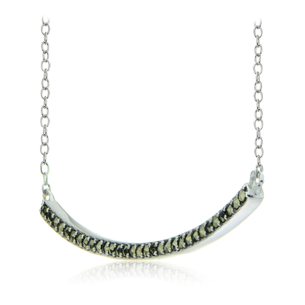 Sterling Silver Marcasite Curve Bar Necklace