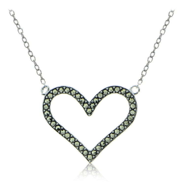 Sterling Silver Marcasite Open Heart Necklace